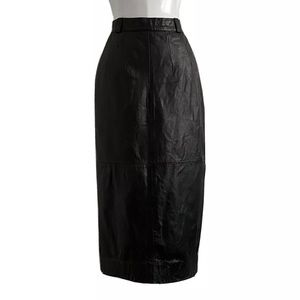 Elizabeth Vintage Black Leather Midi Skirt Size S